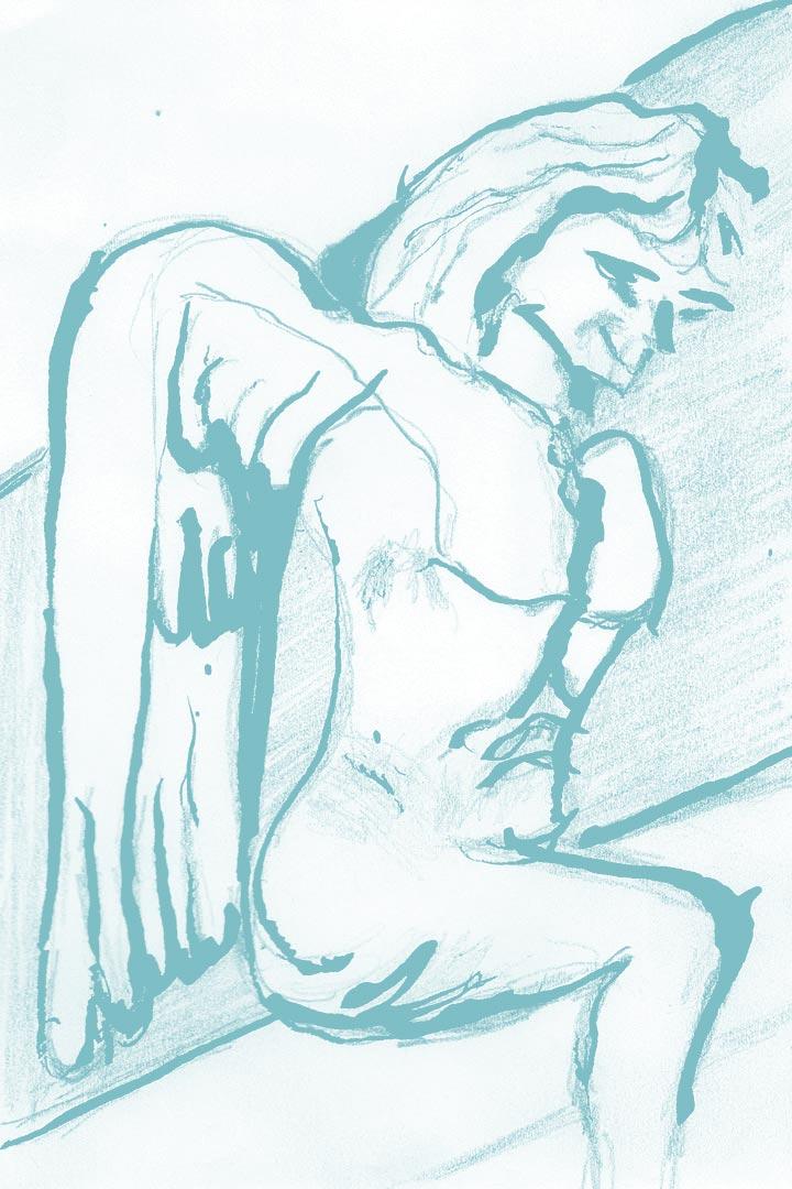 Dessin sculpture ange escalier extérieur